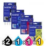 5 Pack Genuine Brother LC-57 Ink Combo [2BK+C+M+Y]