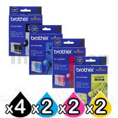 10 Pack Genuine Brother LC-57 Ink Combo [4BK+2C+2M+2Y]