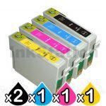 5 Pack Epson 200XL (C13T201192-C13T201492) Compatible High Yield Inkjet Cartridges [2BK,1C,1M,1Y]