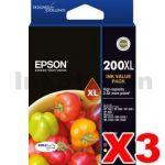 3 x Epson 200XL (C13T201692) Genuine High Yield Inkjet Value Pack [3BK,3C,3M,3Y]