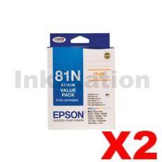 2 x Value Pack - Genuine Epson 81N HY Ink Cartridges [C13T111792] [2BK,2C,2M,2Y,2LC,2LM]