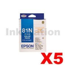 5 x Value Pack - Genuine Epson 81N HY Ink Cartridges [C13T111792] [5BK,5C,5M,5Y,5LC,5LM]
