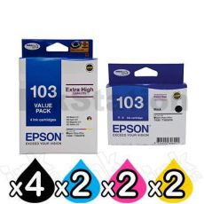 10-Pack Epson 103 T1031-T1034 Genuine High Yield Ink Cartridges [C13T103592+C13T103192] [4BK,2C,2M,2Y]