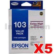 5 x Value Pack - Epson 103 T1031-T1034 Genuine High Yield Ink Cartridges [C13T103592] [5BK,5C,5M,5Y]