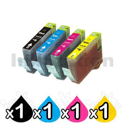 4-Pack Canon CLI-8BK/C/M/Y Compatible Inkjet (with Chip) [BK+C+M+Y]