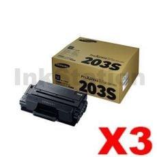 3 x Genuine Samsung SLM3820 / SLM3870 / SLM4020 / SLM4070 (MLT-D203S 203S) Standard Yield Black Toner SU909A - 3,000 pages