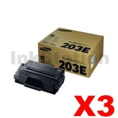 3 x Genuine Samsung SLM3820 / SLM3870 / SLM4020 / SLM4070 (MLT-D203E 203E) Extra High Yield Black Toner SU887A - 10,000 pages