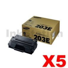 5 x Genuine Samsung SLM3820 / SLM3870 / SLM4020 / SLM4070 (MLT-D203E 203E) Extra High Yield Black Toner SU887A - 10,000 pages