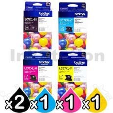 5 Pack Genuine Brother LC-77XL High Yield Ink Combo [2BK+C+M+Y]