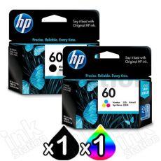 2 Pack HP 60 Genuine Inkjet Cartridges CC640WA + CC643WA [1BK,1CL]
