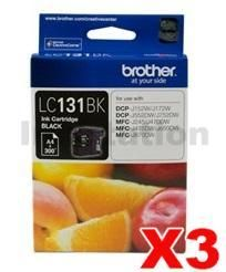 3 x Genuine Brother LC-131BK Black Ink Cartridge - 300 Pages [3BK]