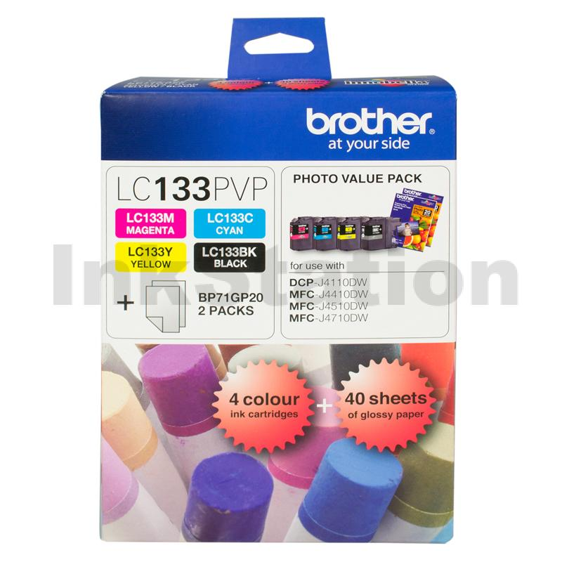 Genuine Brother LC-133PVP Photo Value Pack [BK+C+M+Y+Photo Paper]