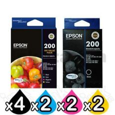 10 Pack Epson 200 (C13T200692+C13T200192) Genuine Inkjet Cartridges [4BK,2C,2M,2Y]