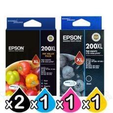 5 Pack Epson 200XL (C13T201692+C13T201192) Genuine High Yield Inkjet Cartridges [2BK,1C,1M,1Y]