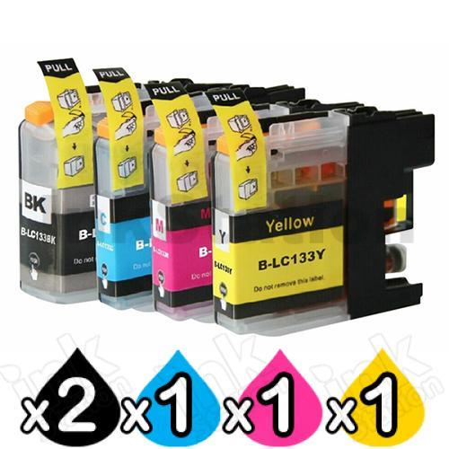 5 Pack Compatible Brother LC-133 Ink Cartridges [2BK,1C,1M,1Y]