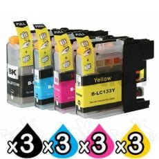 12 Pack Compatible Brother LC-133 Ink Cartridges [3BK,3C,3M,3Y]