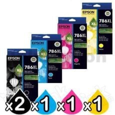 5 Pack Epson 786XL Genuine Ink Cartridge [C13T787192-C13T787492] [2BK,1C,1M,1Y]