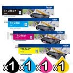 4-Pack Genuine Brother TN-346 High Yield Toner Combo [1BK,1C,1M,1Y]
