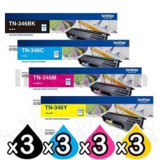 3 sets of 4-Pack Genuine Brother TN-346 High Yield Toner Combo [3BK,3C,3M,3Y]