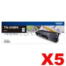 5 x Genuine Brother TN-349BK Black Toner Cartridge - 6,000 pages