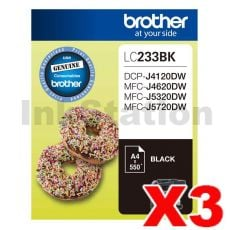 3 x Genuine Brother LC-233BK Black Ink Cartridge - 550 pages each