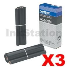 3 x Brother PC-202RF Genuine Thermal Printing Ribbons [2 rolls Value Pack]