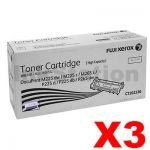 3 x Fuji Xerox DocuPrint M225,M265,P225,P265 Genuine Black High Yield Toner Cartridge (CT202330) - 2,600 pages