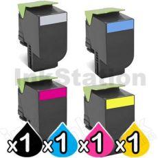 4 Pack Lexmark Compatible CX410 / CX510 Toner Cartridges High Yield - BK 4,000 pages, C/M/Y 3,000 pages