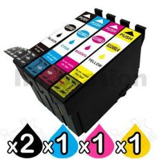 5 Pack Compatible Epson 220XL (C13T294192-C13T294492) High Yield Ink Combo [2BK,1C,1M,1Y]
