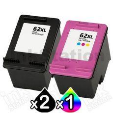 3 Pack HP 62XL Compatible High Yield Inkjet Cartridges C2P05AA + C2P07AA [2BK,1CL]