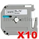 10 x Brother M-K221 Compatible 9mm Black Text on White Tape - 8 meters