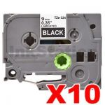 10 x Brother TZe-325 Compatible 9mm White Text on Black Tape - 8 meters