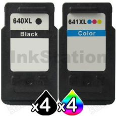 8-Pack Canon PG-640XL, CL-641XL Compatible High Yield Ink Cartridge [4Black + 4Colour]