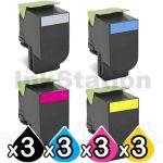 3 Sets of 4 Pack Lexmark Compatible CX310 / CX410 / CX510 Toner Cartridges Standard Yield - 3 x BK 2,500 pages, 3 x C/M/Y 2,000 pages