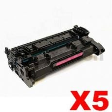 5 x HP CF226A (26A) Compatible Black Toner Cartridge - 3,100 Pages