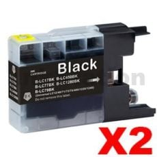 2 x Brother LC73/LC77XLBK Compatible Black High Yield Ink Cartridge - 1,200 pages