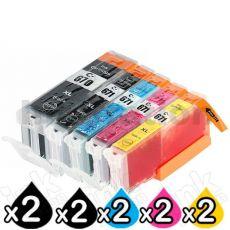 10 Pack Compatible Canon PGI-670XL, CLI-671XL High Yield Inkjet Combo [2BK,2PBK,2C,2M,2Y]