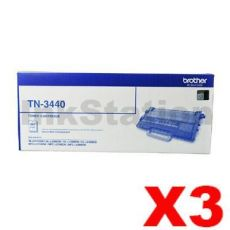 3 x Brother TN-3440 Genuine Toner High Yield - 8,000 pages