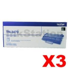 3 x Brother TN-3470 Genuine Toner Super High Yield - 12,000 pages
