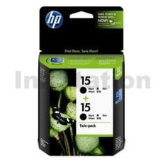 HP 15 Genuine [Twin Pack] Black Inkjet Cartridge CC626AA