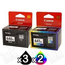 5-Pack Canon PG-640XL, CL-641XL Genuine High Yield Ink Cartridge [3Black + 2Colour]