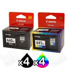 8-Pack Canon PG-640XL, CL-641XL Genuine High Yield Ink Cartridge [4Black + 4Colour]