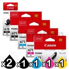 6 Pack Genuine Canon PGI-670XL, CLI-671XL High Yield Inkjet Combo [2BK,1PBK,1C,1M,1Y]