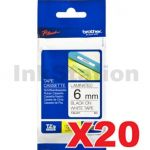 20 x Brother TZe-211 Genuine 6mm Black Text on White Tape - 8 meters