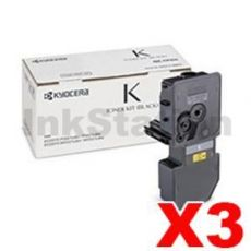 3 x Genuine Kyocera TK-5224K Black Toner Cartridge Ecosys M5521, P5021 - 1,200 pages