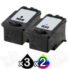 5 Pack Canon PG-510 & CL-511 Compatible Value Pack [3BK,2C]