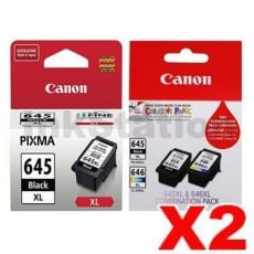 6-Pack Canon PG-645XL + (PG-645XL, CL-646XL - Twin Pack) Genuine High Yield Ink Cartridges [4BK, 2CL]