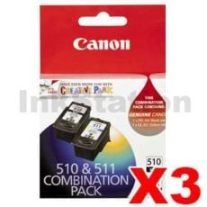 3 x Canon PG-510 + CL-511 Genuine Ink Twin Pack (PG510CL511CP) [3BK,3C]